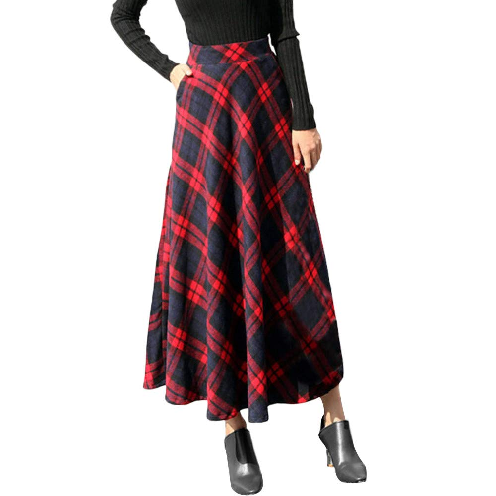 Womens Plaid Maxi Skirt A-line High Waist Winter Warm Flare Long Skirt