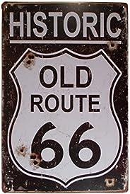 Pôster de arte de metal retrô com decoração de parede de garagem, barra de placa de latão US Historic Route 66