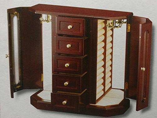Dark Walnut Jewelry Box - Jaclyn Smith 5 Drawer and 2 Door Wood Jewelry Box, Dark Walnut
