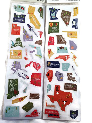 (50 States Travel Geography Stickers for Scrapbooking)