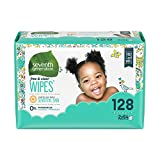 Baby : Seventh Generation Baby Wipes, Free & Clear Refill, 128 count