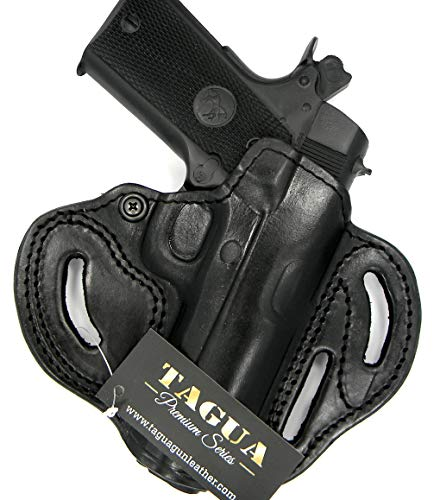"HOLSTERMART USA TAGUA Premium Deluxe Right Hand Black Leather Open Top OWB Belt Holster for 4"" 1911, Ruger SR1911, Springfield EMP4, Champion, Range Officer, STI Guardian, Kimber Aegis II, etc."