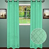 Sweet Home Collection 2 Pack Blackout Curtains Window Panels Room Darkening Thermal Insulated with Metal Grommets, Lattice, Aqua