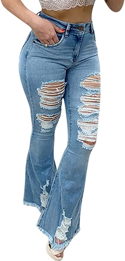 UK Blue Ripped Ladies High Waisted Skinny Distressed Hem Frayed Ankle Jeans New