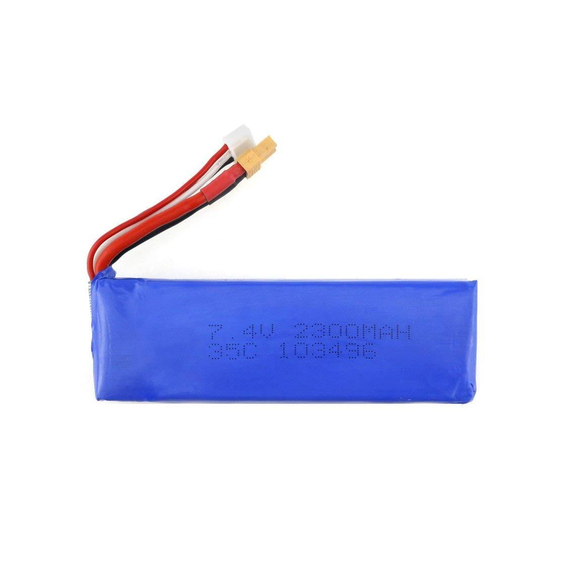 Laurelmartina 3Pcs Actualizado 7.4V 2300mAh 2S 35C Li-po Batería Recargable con XT30 Plug Cargador para MJX Bugs 6 B6 RC Drone Quadcopte