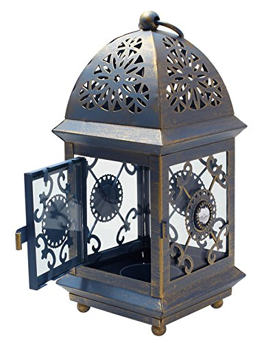 Vintage, Classic 8.3 Tall Rustic Decorative Tealight Votive Candle Holder, Hanging Lantern Outdoor Indoor Garden Dcor - Blue