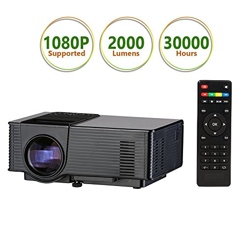 1080P Mini Projector for Watching World Cup, Led Projector, Amgaze Video Projector, Home Theater Cinema with HDMI AV VGA USB SD for PC Laptop iPad Smartphone (Black) by Amgaze