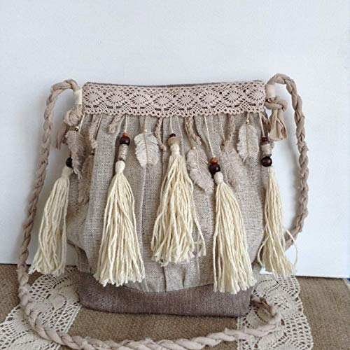 Amazon.com  Tribal Crossbody Boho Bag Boho Chic Linen Purse Tassel Fringe  Hippie Hipster  Handmade 98a2ea84c864a