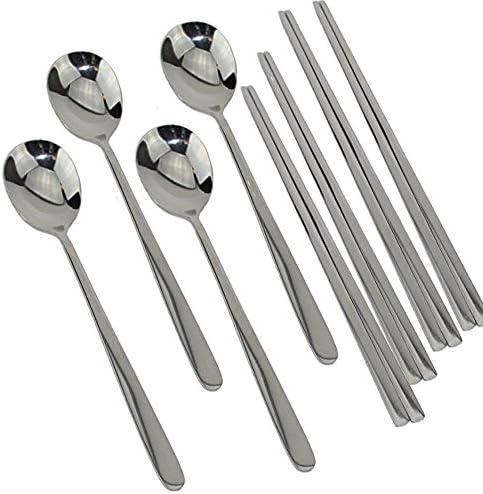 2pcs//set Stainless Steel Korean Chopsticks Spoon Laser Engraving Patterns RSDE