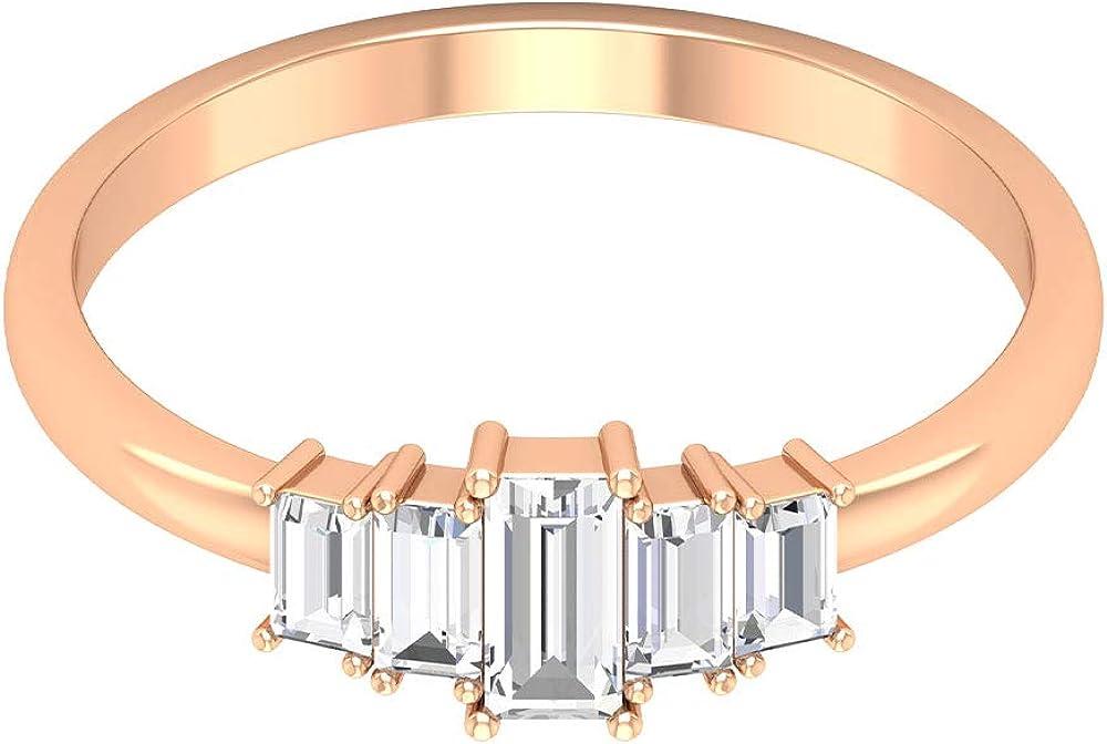Anillo de boda con forma de baguette de 3/4 ct con diamante certificado, para mujer, 5 piedras, aniversario, anillo de promesa apilable, oro, niña, cumpleaños, regalo, 18K Oro