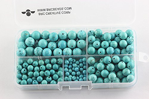 BRCbeads Chinese Blue Turquoise Natural Gemstone Loose Beads Round Value Box Set 340pcs Per Box for Jewelry Making (Plastic Container is Included)-4,6,8,10mm