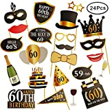 KissDate 24Pcs 60th Birthday Photo Booth Props, Funny DIY Kit for Men Women 60th Birthday Party Supplies Decoration and Favors (Black and Gold)