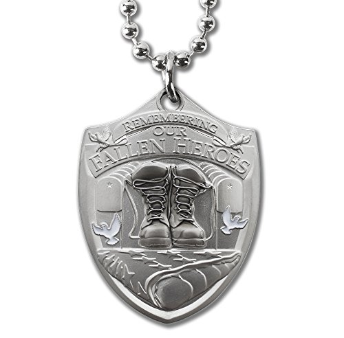 Fallen Hero Fallen Soldier Memorial Dog Tag Pendant with Thick Ball Chain Military Style Necklace -