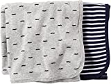 Carters Baby Boys' Striped Mustache Swaddle Blanket - 2 Pack by Carter's