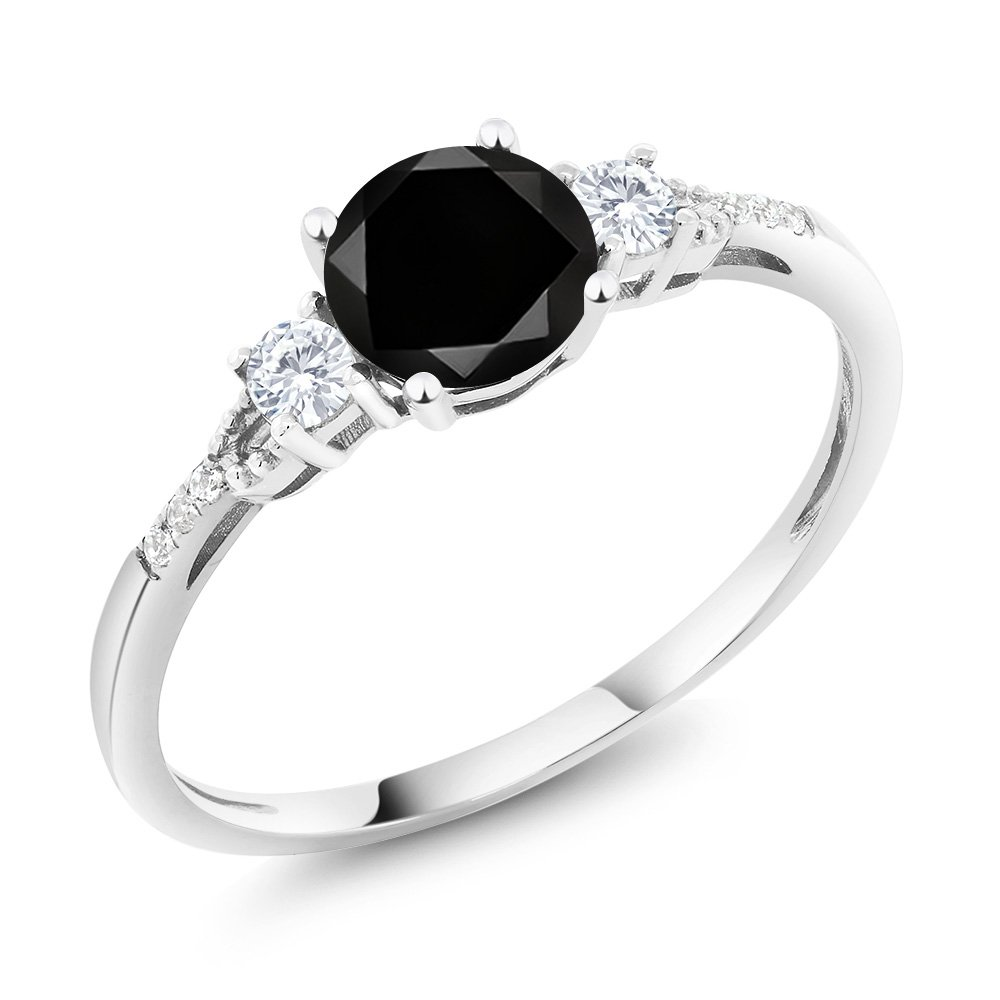 10K White Gold Diamond Accent Three-stone Engagement Ring set with Black Diamond White Created Sapphire (1.20 cttw, Available in size 5, 6, 7, 8, 9)