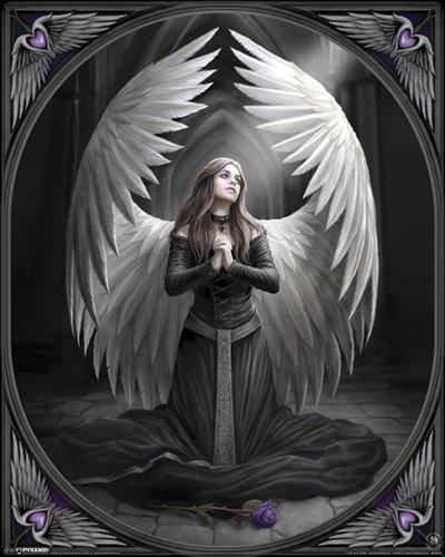 Anne Stokes Prayer for the Fallen Angel Goth Dark Decorative Fantasy Art Poster Print 16 by 20