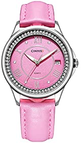 Comtex Women's Analog Fashion Wrist Watch with Comfortable Pink Leather Strap