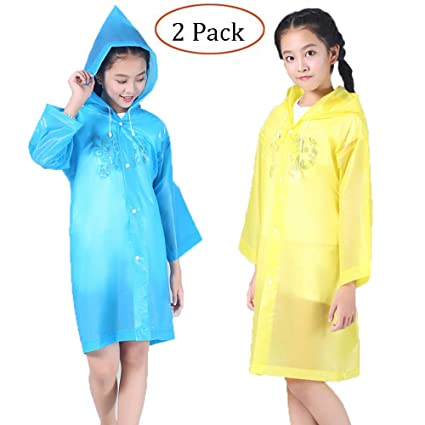 Raincoat Rain Poncho Jacket Slicker Outwear for Children[Thicker & Reusable & Lightweight]Emergency