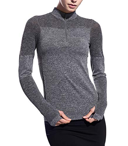 Women Long Sleeve Running Shirts with Thumb Holes Track Jackets Yoga Tops Performance Grey -