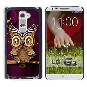 Qstar Arte & diseño plástico duro Fundas Cover Cubre Hard Case Cover para LG G2 / D800 / D802 / D802TA / D803 / VS980 / LS980 ( Owl Purple Smart Design Minimalist Modern)