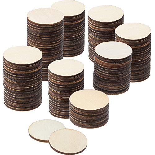Boao 200 Pieces Unfinished Wood Slices Round Disc Circle Wood Pieces Wooden Cutouts Ornaments for Craft and Decoration (1.5 Inch)