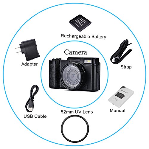 SEREE HD Digital Camera Camcorder Full HD 1080p 24.0 Megapixels 4x Digital Zoom 3 Inch LCD Screen Flashlight
