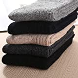 Winter Warm Wool Socks Men - 5 Pairs Vintage Soft