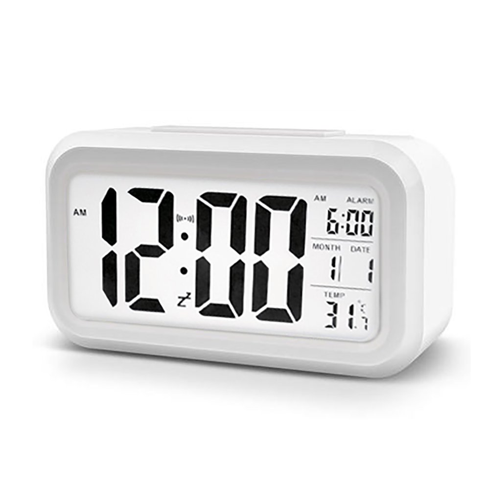 LAWOHO Digital Alarm Clock White Time Date Temperature with Large LCD Display Multi-function Backlight Sensor Automatic Night Glow Battery for Kids Bedroom Kitchen Office Dormitory Travel