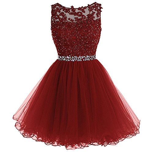 WDING Short Sweet 16 Dresses Appliques Beads Cocktail Dresses Tulle Burgundy,US6