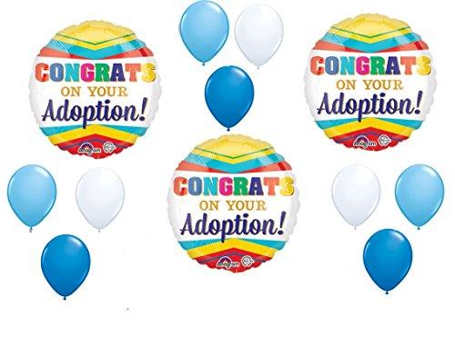 12pc new BALLOON set ADOPTION boy CONGRATS party -