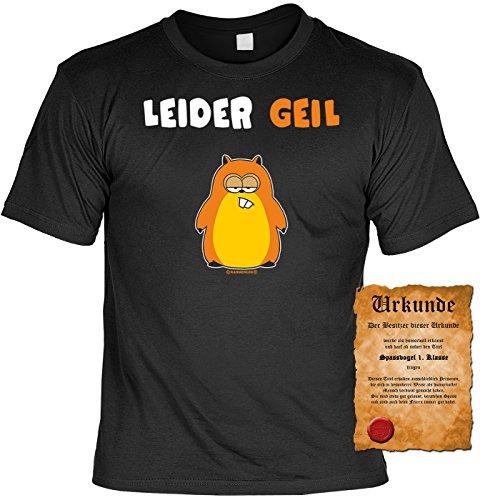 T-Shirt mit Urkunde - Leider Geil - Lustiges Sprüche Shirt als Geschenk für Spaßvögel mit Humor