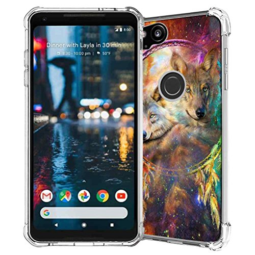 Google Pixel 2 Case, SuperbBeast Slim Thin Scratch Resistant TPU Bumper Gel Rubber Soft Skin Silicone Protective Case Cover for Google Pixel 2 2017 (Galaxy Dream Catcher Wolf Spirits Pattern)