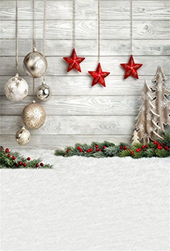 (AOFOTO 4x6ft Christmas Decoration Backdrop Snowfield Holiday Tree Ornament Xmas Balls Star Pine Tree Branch Photography Background 2019 New Year Decor Child Baby Portrait Photo Studio Props Vinyl)