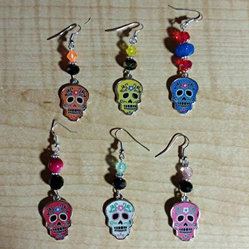 Halloween Silver Painted Day of the Dead Earrings - Handmade Beaded Dangle Drop Earrings