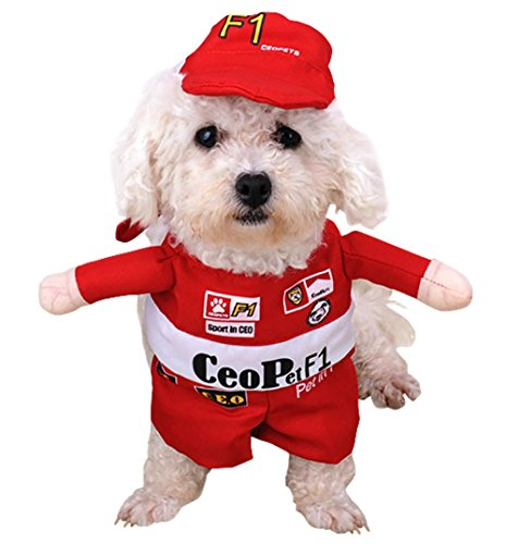 F1 Racing Suit Costume (JudyBridal Pet Costume F1 Racing Driver Polyester Cute Puppy Cosplay Dress Up for Dogs,Cats and Small Animals for Halloween Christmas Easter New Year Festival Parties Winter Cloth S)