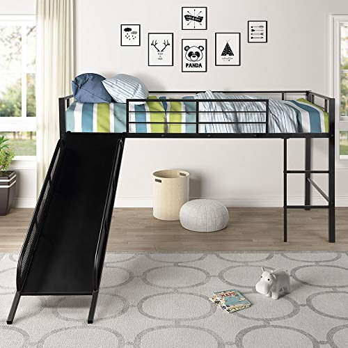Harper&Bright Designs Twin Loft Beds for Kids, Metal Loft Bed with Slide, No Box Spring Required, Black