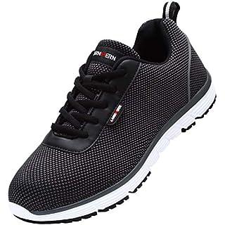LARNMERN Steel Toe Shoes Men, Work Safety Sneakers Lightweight Industrial & Construction Shoe(10.5 Women/9 Men/Black/White)
