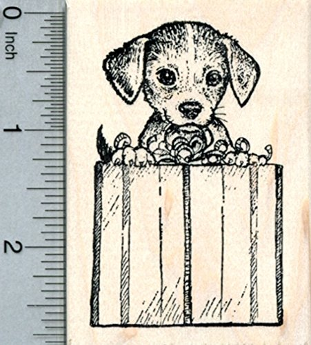 Beagle Rubber Stamp, with Wrapped Present, Christmas or Birthday