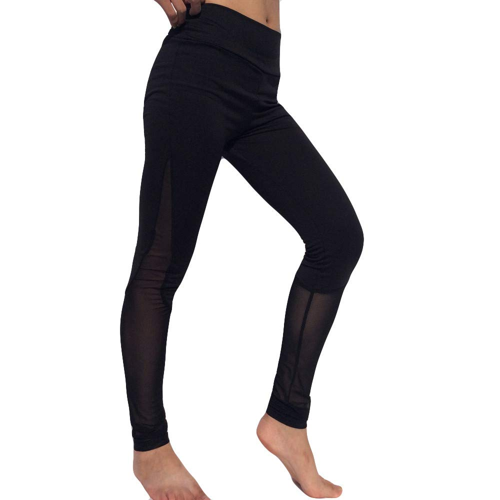 NUWFOR Fold-Over Waistband Stretchy Cotton Blend Yoga Pants for Winter/Full(Black,S)