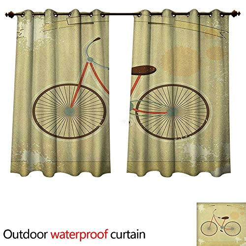 (Anshesix Vintage Outdoor Ultraviolet Protective Curtains Postcard of a Retro Bicycle on Grunge Background Illustration Artwork Print W63 x L63(160cm x 160cm))