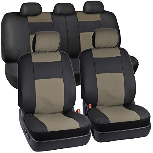 Black & Beige Synthetic Leather Seat Covers for Car SUV Auto Two Tone Style (Green Mitsubishi Seat Covers compare prices)