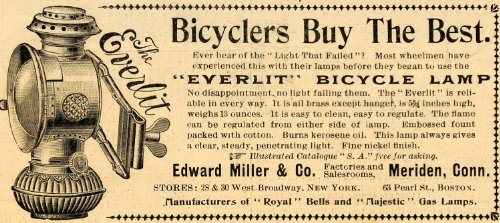 1899 Ad Edward Miller Everlit Bicycle Lamp Lighting - Original Print Ad from PeriodPaper LLC-Collectible Original Print Archive