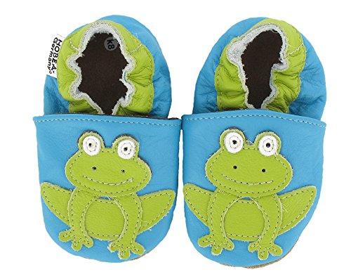 HOBEA-Germany Krabbelschuhe Frosch - Pantuflas para bebés Turquesa (türkis)