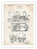Steves Poster Store VINTAGE STEAM LOCOMOTIVE INVENTION 1924 US PATENT ART POSTER PRINT BOLTHAUSER GIFT UNFRAMED (18'' x 24'')