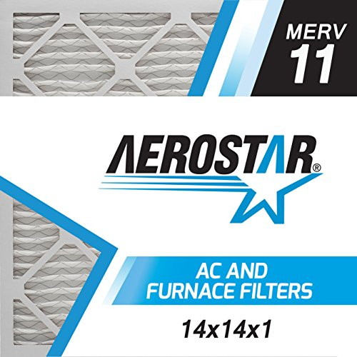 Aerostar 14x14x1 MERV 11, Pleated Air Filter, 14x14x1, Box of 4, Made in the USA
