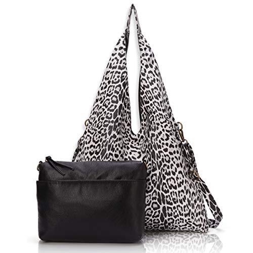- Angel BarceloStylish Reversible Tote Handbags Shoulder Bags Hobo bags Satchel Purses Top Handle Bag for Women Black Leopard