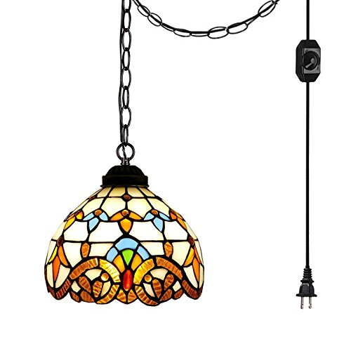 Style Island Chandelier Tiffany - ANYE Tiffany Style Colorful Chandelier Handmade Crystal Glass Pendant Lamp Ceiling Fixture with 15ft UL Dimmable Cord Bulb Not Included TB0204-TL