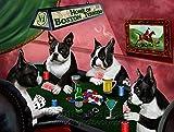 Home of Boston Terrier 4 Dogs Playing Poker Art Portrait Print Woven Throw Sherpa Plush Fleece Blanket (37x57 Sherpa)