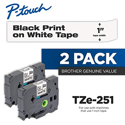 (Brother Genuine P-Touch 2-Pack TZe-251 Laminated Tape, Black Print on White Standard Adhesive Laminated Tape for P-Touch Label Makers, Each Roll is 0.94