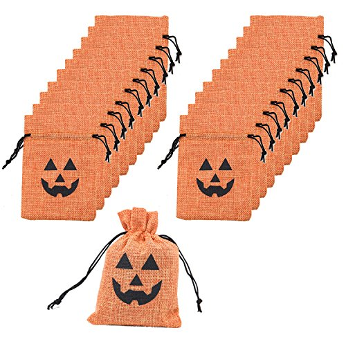 Scafiv 20 Pack Halloween Drawstring Canvas Pumpkin Treat Goodie Bag for Trick Treating and Halloween Party Favors Decorations (20) -